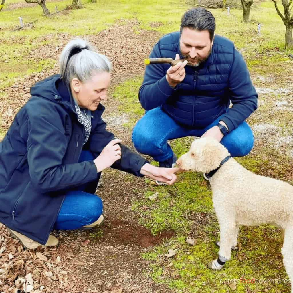 smelling dirt while truffle hunting