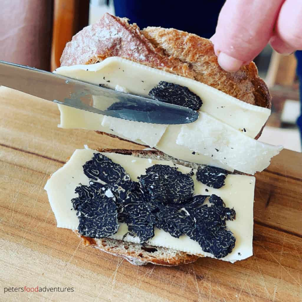 shaved truffles inside grilled cheese